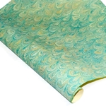 Italian Marbled Paper - PEACOCK - Teal/Yellow