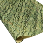 Italian Marbled Paper - STRIPED MOIRE - Green