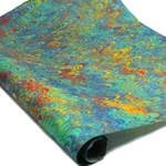 Marbled Lokta Paper - Three Multi Colored Combed - BLUE/YELLOW/RED