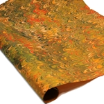 Marbled Lokta Paper - Combed - ORANGE/OLIVE