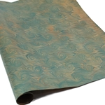 Italian Marbled Paper - SHELL ON HERRINGBONE - Turquoise/Yellow