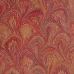 Italian Marbled Paper - PEACOCK - Red/Orange