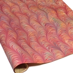 Italian Marbled Paper - WAVE ON TWILLED - Red/Orange/Aqua