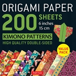 Origami Paper Pack - DOUBLE SIDED KIMONO PATTERNS - 6""