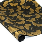 Nepalese Lokta Paper - Ginkgo Leaves GOLD ON BLACK