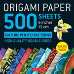 Origami Paper Pack - DOUBLE SIDED NATURE PHOTO PATTERNS - 6""