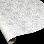 Silkscreened Nepalese Lokta Paper - Victorian - WHITE ON NATURAL