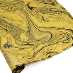 Marbled Lokta Paper - BLACK/GOLD ON YELLOW