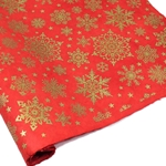 Silkscreened Nepalese Lokta Paper - SNOWFLAKE - Gold on Red