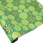 Metallic Screenprinted Indian Cotton Rag Paper - CANDY SWIRL - Greens