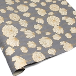 Metallic Screenprinted Indian Cotton Rag Paper - CHRYSANTHEMUM - Gray
