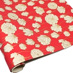 Metallic Screenprinted Indian Cotton Rag Paper - CHRYSANTHEMUM - Strawberry