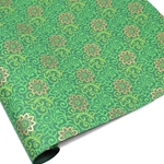 Metallic Screenprinted Indian Cotton Rag Paper - HENNA - Green