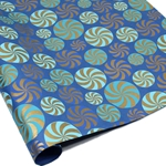 Metallic Screenprinted Indian Cotton Rag Paper - CANDY SWIRL - Blues