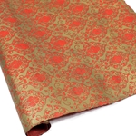 Silkscreened Nepalese Lokta Paper - Victorian - ANTIQUE GOLD ON RED