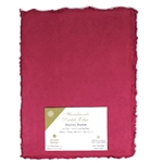 Handmade Deckle Edge Indian Cotton Paper Pack - HOT PINK