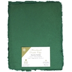 Handmade Deckle Edge Indian Cotton Paper Pack - GREEN