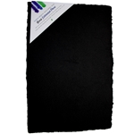 "Handmade Deckle Edge Indian Cotton Watercolor Paper Pack - BLACK - ROUGH - 12"" x 18"""