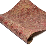 Italian Marbled Paper - FLOW - Red/Brown/Gold
