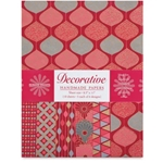 Handmade Indian Cotton Paper Pack - SCREENPRINTED - RED/SILVER