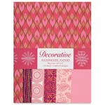 Handmade Indian Cotton Paper Pack - SCREENPRINTED - ROSE AND PINK