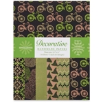 Handmade Indian Cotton Paper Pack - SCREENPRINTED - MOSS GREEN AND BLACK