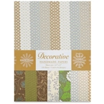 Handmade Indian Cotton Paper Pack - SCREENPRINTED - BEIGE AND COCOA