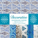 Handmade Indian Cotton Paper Pack - SCREENPRINTED - BLUE