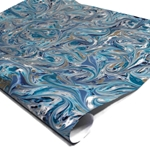 Italian Marbled Paper - FANTASY - Blue and Silver