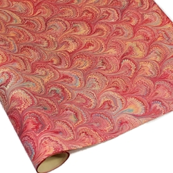 Italian Marble Paper - Peacock RED/ORANGE/AQUA