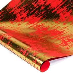 Metallic Foil Indian Cotton Rag Paper - RED/GOLD