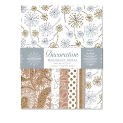 Handmade Indian Cotton Paper Pack - SCREENPRINTED - GOLD AND SILVER