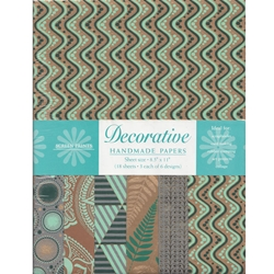 Handmade Indian Cotton Paper Pack - SCREENPRINTED - TURQUOISE/BLUE/GOLD