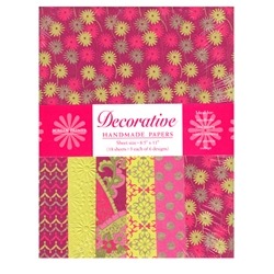 Handmade Indian Cotton Paper Pack - SCREENPRINTED - HOT PINK