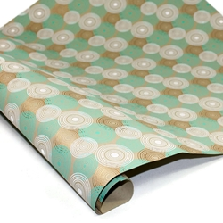 Metallic Screenprinted Indian Cotton Rag Paper - CIRCLES - TEAL/WHITE/GOLD