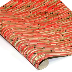 Metallic Screenprinted Indian Cotton Rag Paper - ABSTRACT STICKS - RED/BLACK/GOLD