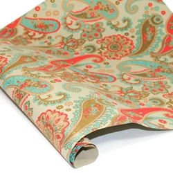 Metallic Screenprinted Indian Cotton Rag Paper - FLORAL PAISLEY - PALE BLUE/TAN/OLIVE/GOLD