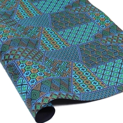 Metallic Screenprinted Indian Cotton Rag Paper - GEOMETRIC - GREEN/BLUE/GOLD
