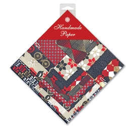 Handmade Indian Cotton Paper Pack - SMALL - RED, BLACK, WHITE
