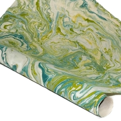 Marbled Nepalese Lokta Paper - OLIVE/BLUE/CREAM