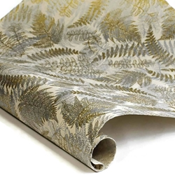 Silkscreened Nepalese Lokta Paper - FERN - Gold and Silver on Cream