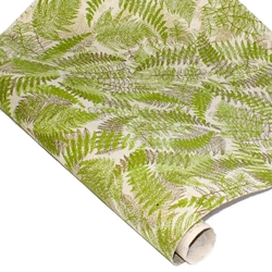 Silkscreened Nepalese Lokta Paper - FERN - Olive and Gold on Cream