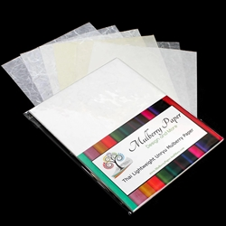 "Unryu Mulberry Paper Pack in 6 White Varieties (24 Sheets of 8.5"" x 11"" Paper)"