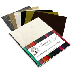 "Unryu Mulberry Paper Pack in 6 Neutral Colors (24 Sheets of 8.5"" x 11"" Paper)"