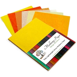 "Unryu Mulberry Paper Pack in 6 Yellow and Orange Colors (24 Sheets of 8.5"" x 11"" Paper)"