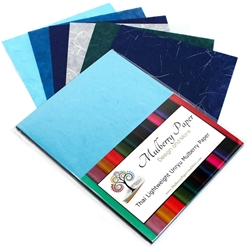 "Unryu Mulberry Paper Pack in 6 Blue Colors (24 Sheets of 8.5"" x 11"" Paper)"
