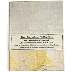 Handmade Nepalese Lokta Paper Pack - CREAM, GOLD AND SILVER