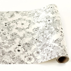 Paper Table Runner Roll   FLORAL PATTERN FOR COLORING   20 Inches X 25 Feet