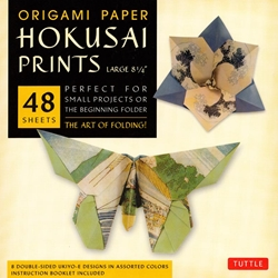 Finally, an origami kit for beginners and experts alike. The large, 8.25 inch sheets make easy folding for beginners as they follow the included instructions. The specialty prints and solid color reverse on these papers will thrill experts with new designs and patterns for their art. The 48 sheets in this kit feature details inspired by classic Japanese Ukiyo-E paintings of rural Japanese life. On the reverse of each sheet is a solid, complimentary color. Finishing up the kit are instructions providing an introduction to basic origami folding techniques and instructions for 6 different projects.