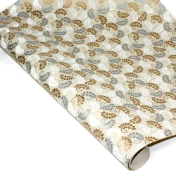 Metallic Screenprinted Indian Cotton Rag Paper - CURLED BLOOM - SILVER/GOLD/WHITE